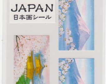 Cherry Blossom Stickers - Japanese Stickers - Mt Fuji and Temple - Reference A4445
