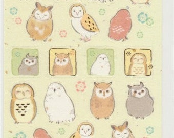 Owl Stickers - Gold Trim - Japanese Paper Stickers - Reference A5182I5421