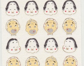 Japanese Mask Stickers - Okame Stickers - Hyottoko Stickers - Paper Stickers - Reference A6404