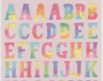 Colourful Alphabet Stickers - Petit Poche Mind Wave Stickers - Reference L6585-88