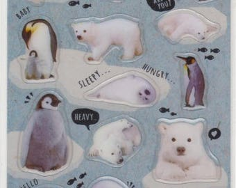 Polar Bear Stickers - Penguin Stickers - Raised Stickers - Reference A4529-30