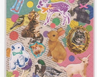 Animal Stickers - Collage 2 Sheet Set - Petit Poche Mind Wave Stickers - Reference F855-56F1208F1463-64F1559F1692F2333F2470-71