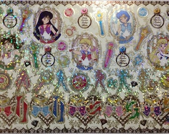 Sailor Moon 20th Anniversary Large Shiny Stickers in Cardboard Holder - Type 5 Jewel - Reference A6632-33