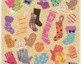 Mitten Stickers - Stocking Stickers - Winter Stickers - Petit Poche Mind Wave Stickers - Reference A3628A3727-30