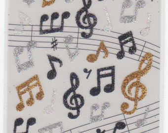 Music Stickers - Music Note Stickers - Glitter Stickers - Mind Wave Stickers - Reference F899-900F1244F1496F1617F1738F2743-44