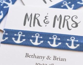 Mr & Mrs Hair Ties, Custom Hair Ties, Married Hair Ties, Wedding Favors, Party Favor, Anchor Hair Tie, Nautical Hair Elastic, Nautical Bride