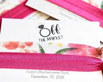 Off the Market Hair Ties, Custom Hair Ties, Custom Party Favors, Bridal Hair Ties, Team Bride Hair Ties, Bridal Party Favors, Wedding Favors