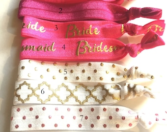 Choose Your Own-Hot Pink & White Bridal/Bridal Party Hair Tie Set-Pick 6 hair ties, Bridal Party, Engagement Favor, Team Bride, Bride Tribe