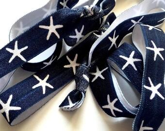 Navy and White Starfish Hair Ties, Nautical Hair Ties, Nautical Wedding Favors, Starfish Hair Ties, Nautical Bride, Bridesmaid's Gifts