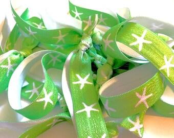 Lime Green and White Starfish Hair Tie, Starfish Hair Ties, Lime Green Hair Ties, Beach Hair Ties, Nautical Bride, Nautical Hair Ties