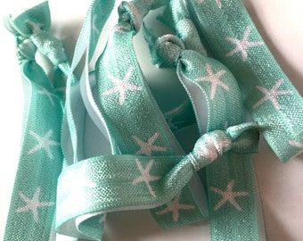 Seafoam Starfish Hair Ties, Nautical Hair Ties, Starfish Hair Ties, Summer Hair Ties, Nautical Bride, Nautical Wedding, Party Favors
