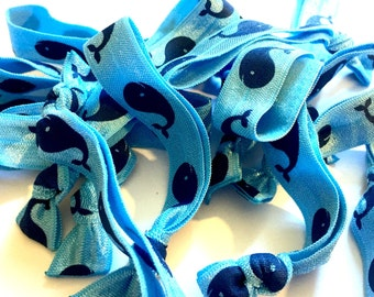 Light Blue and Navy Blue Whale Hair Ties, Whale Hair TIes, Nautical Hair TIes, It's a Boy Party Favors, Wedding Favors, Nautical Bride