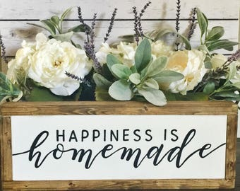 Happiness is Homemade, Rustic Sign, Wooden Sign, Hand Painted Sign, Handmade Sign, Hand Lettered Sign, Hand Lettering