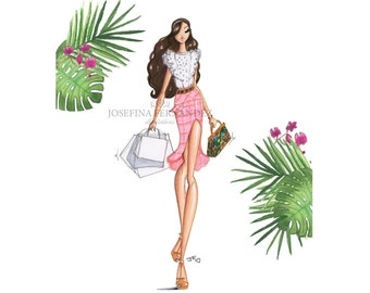 A weekend in Miami fashion illustration print,Chanel art print,fashion art print,fashion wall art,fashion sketch art,fashion decor