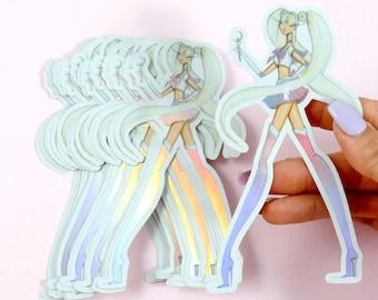 Sailor Moon holographic sticker,laptop sticker,holo vinyl sticker,holo stickers,planner prism iridescent sticker,Holographic vinyl stickers