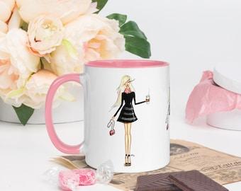 Paris and Coffee mug,chic coffee mug,11 Oz Fashion Illustration coffee mug,chic ceramic mug, fashion mug