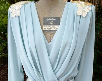 Ursula Switzerland Formal Dress Mother of Bride Blue Beaded 10 from Four Seasons NOS
