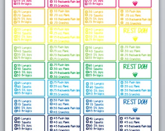 MAMBI BIG Happy Planner Rainbow Workout Template for Stickers