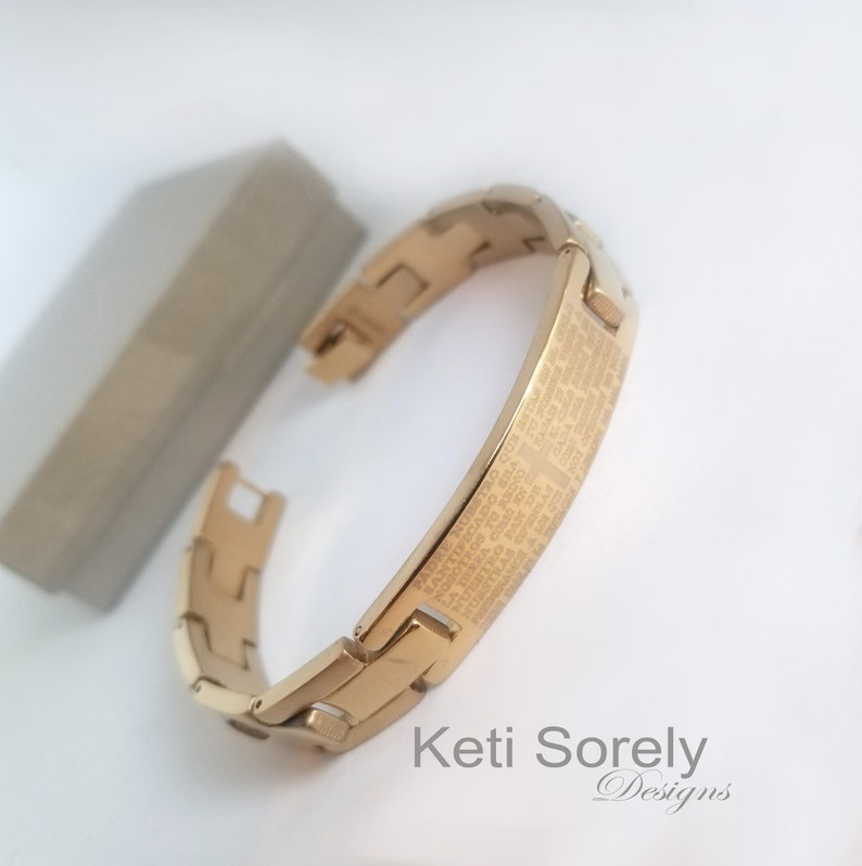 Engravable Bracelet For Man Dates or Initials Inside. Names Our Father Prayer Bracelet in Gold Finish Engrave Personalized Message