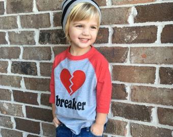 Heartbreaker Raglan Tee, Valentine's Day T-Shirt for Boys, Valentine's Day Raglan, Valentine's Day T-shirt, Boys Valentine's Day Shirt