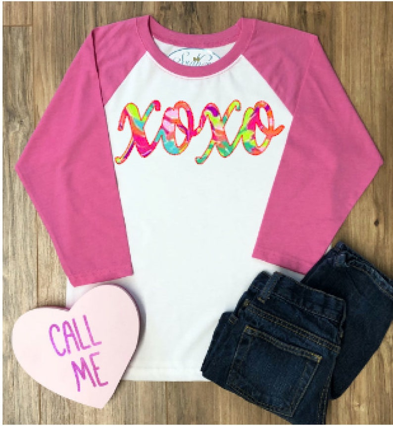 97fb870c Valentines Day Baseball Lilly Tee for Girls Lilly Valentines   Etsy