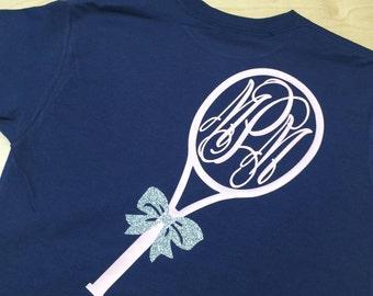 Monogrammed Tennis T-shirt, Long Sleeve Tennis Tee ©
