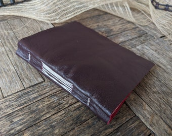 Dark Purple and Fuchia Leather Fold, Medium Book 112 lined pages