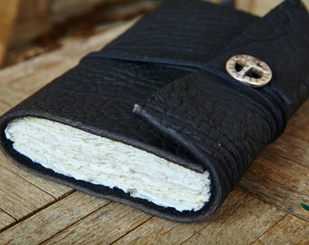 Thick Dark Black Leather Wrap Around with Handmade Paper and Peace Symbol Concho, Medium Book 112 Blank Pages