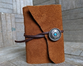 Tan Leather Wrap with Silvery Snowflake Concho and Brown Suede Strap, Small Book