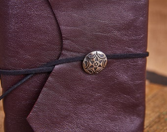 Brown and Fuchia Leather Wrap with silvery flower button and black suede strap, Medium Book 112 blank pages