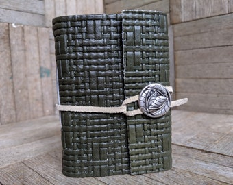 Green Leather Wrap with Leaf Button and Cream Suede Strap, Small Book