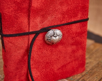Red Leather Wrap with silvery heart button and suede strap, Medium Book 112 blank pages