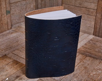 Blue Scale Leather Medium Book 112 Blank Pages