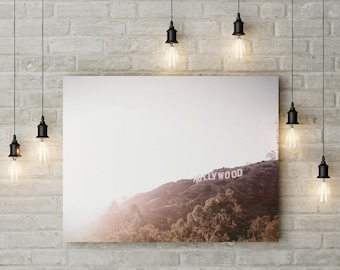 Hollywood Sign Photograph, Los Angeles California Panoramic, Hollywood Sign Iconic Wall Art, LA Art Print, Instant Download, Printable Art