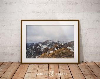 Scandinavian Mountain Art Print, Digital Poster Download, Black And White, Minimalist Art, Minimalist Style Decor, Nature Wall Art, Fine Art