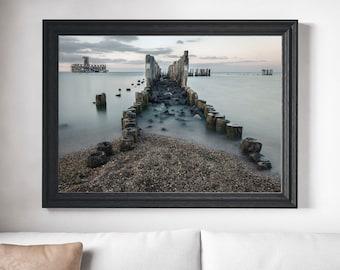 Ocean Photograph, Ocean Print, Beach Decay Photograph, Sea Defenses Photograph, Abandoned Art, Ocean Art, Industrial Art, Printable Home Art