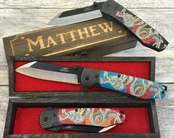 unique birthday gift idea chinese dragon design japanese style pocket knife cool blade 3 colors choices engraved wood gift box