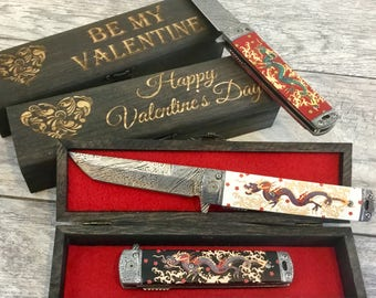 cool valentine for men chinese dragon design japanese style pocket knife etched damascus blade 3 colors wood gift box unique