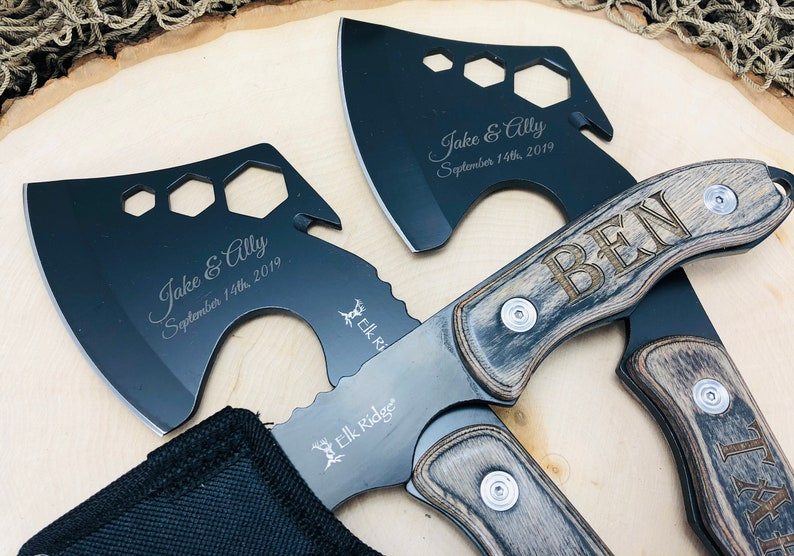 SET OF 2 Engraved Groomsmen Axes / Hatchets with nylon sheath, unique  personalized gift, present for outdoor Men, bespoke wedding thank you