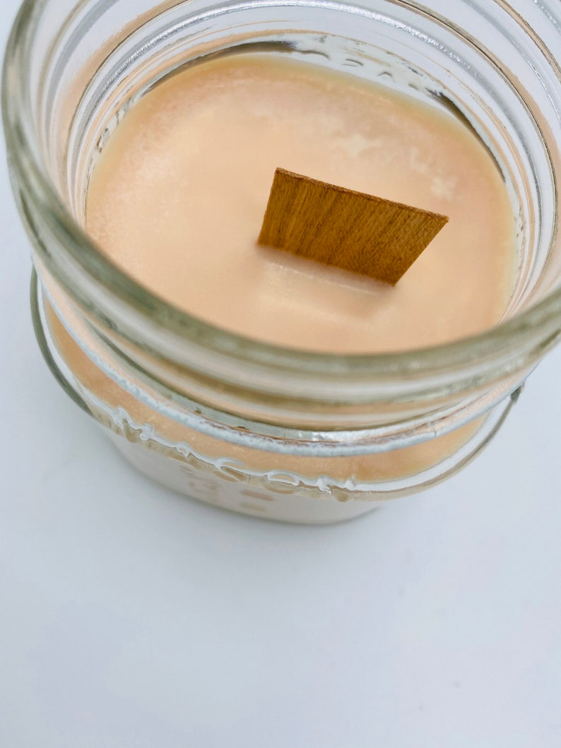 Fall candle Mason jar candle Crackle candle Delicious scent. STRUDEL /& SPICE wood wick 8oz soy candle