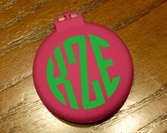 Personalized Monogram Compact Brush with Mirror