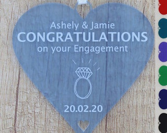 Congratulations on your Engagement Personalised Heart You're Engaged Couples Gift ANY NAMES & Proposal Date Keepsake - Little Shop of Wishes