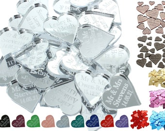 Personalised Wedding Favours Table Decorations Love Heart Confetti Centrepiece Venue Decor Anniversary Party Favors Mr & Mrs Surname Gifts