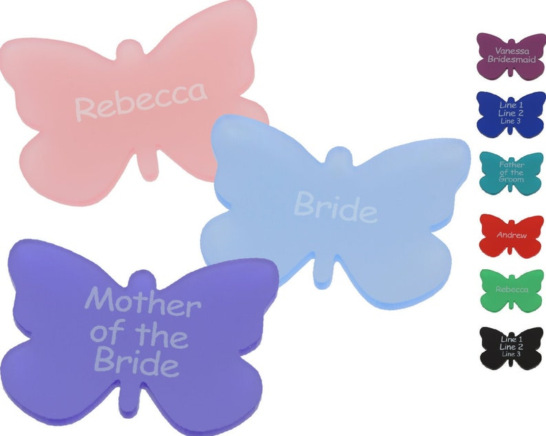 Wedding Place Cards Personalised Place Names Modern Table Settings Custom  Acrylic Butterflies Seating Plan (Pack of 5) LittleShopOfWishes