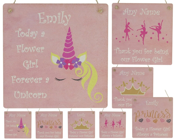 Unicorn Flower Girl Thank You Gifts Personalised Bridesmaid Thank You Gifts