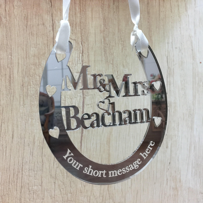Oak Wooden Wedding Horseshoe Personalised Good Luck Wedding Gift For Bride