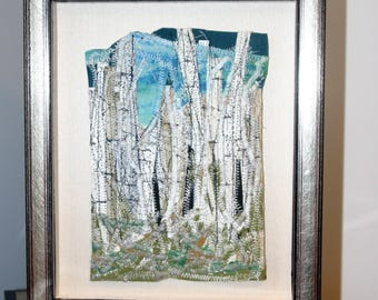 Hoar Frost on trees - threads and fabric art - framed shadow box style - unique art - Fiber
