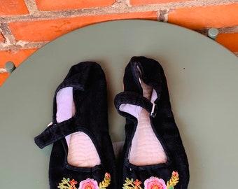 New Comfort Bleu Chinois Handmade Satin de Soie Femme//Homme Chaussures Chaussons