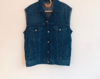 22a0bf33d2d Vintage Levi's denim vest, mens/women's, rock n roll, boho folk country  classic USA, red tag, medium hipster biker, street style
