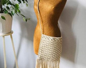0aa887b7fddd Vintage crochet macrame bag purse tote bohemian boho hippie chic